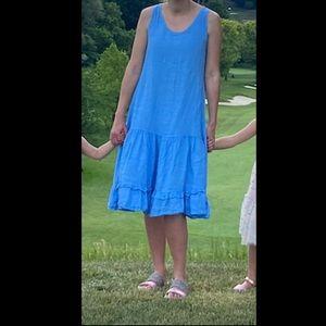 Blue linen waterfall midi dress 👗